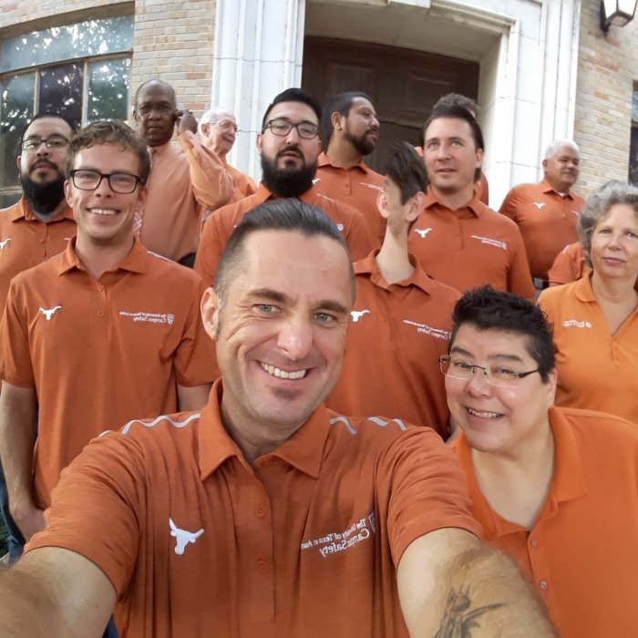 staff group photo showing longhorn pride